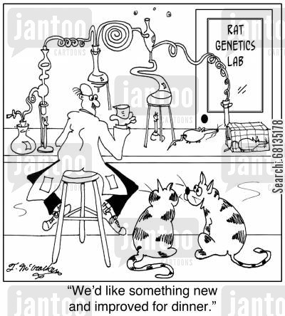 spoiled pets cartoon humor: 'We'd like something new and improved for dinner.'