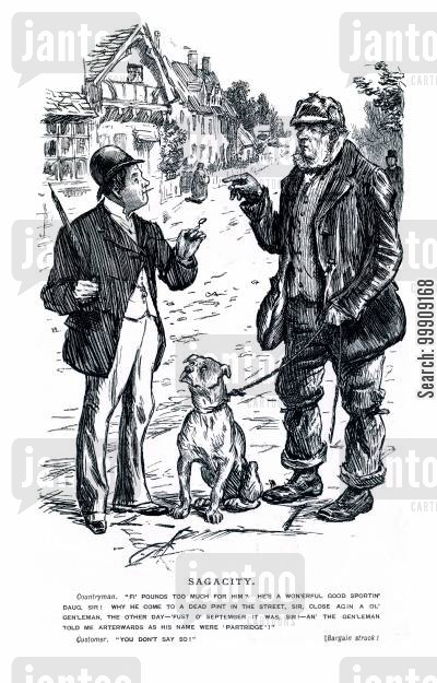 villages cartoon humor: A Countryman Selling a Dog.