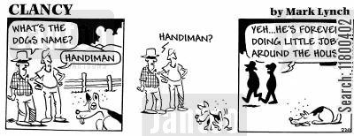 excreta cartoon humor: Clancy: Handiman