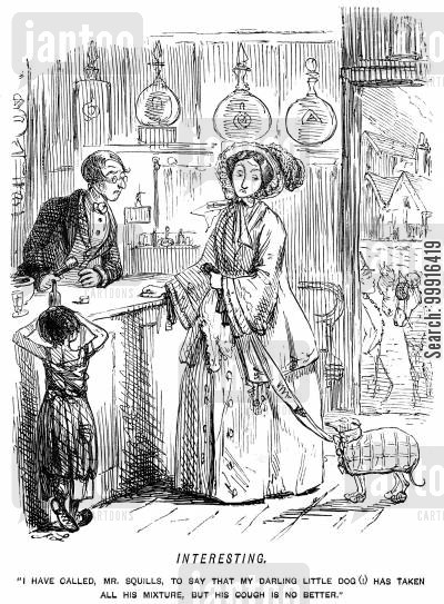 pharmacy cartoon humor: Lady taking her little dog to the chemist with a cough