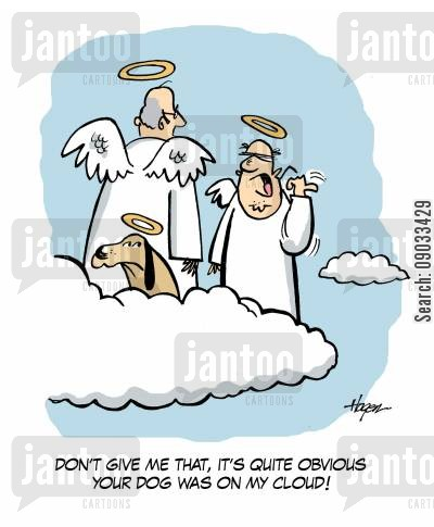 angry neighbours cartoon humor: 'Don't give me that, it's quite obvious your dog was on my cloud!'