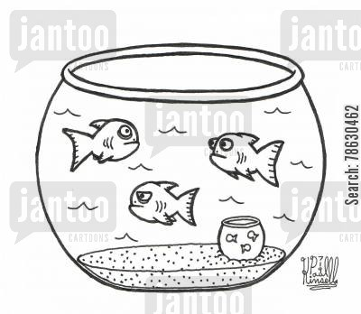 pet fish cartoon humor: Fish in fish bowl have pet fish in a smaller bowl (get it?)