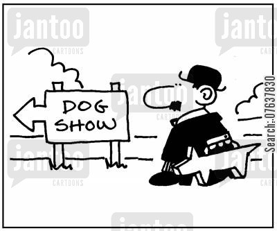 carry case cartoon humor: Dog Show.
