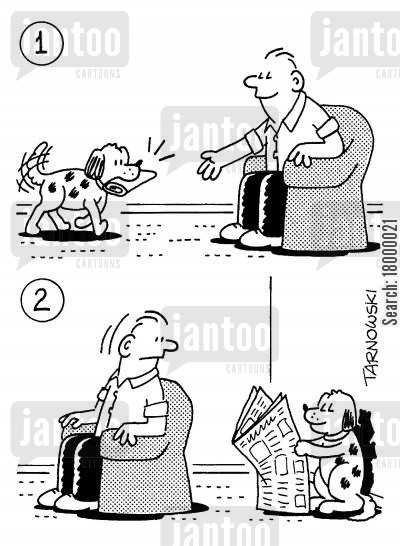 house training cartoon humor: Dog fetching a newspaper and then reading it himself.