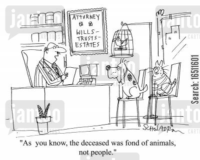 pet lovers cartoon humor: 'As you know, the deceased was fond of animals, not people.'