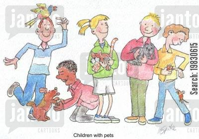 first pets cartoon humor: Children with pets.