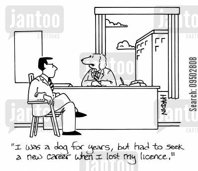 animal law cartoon humor: 'I was a dog for years, but had to seek a new career when I lost my licence.'