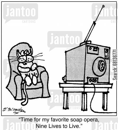 daytime television cartoon humor:  'Time for my favorite soap opera, Nine Lives to Live.'