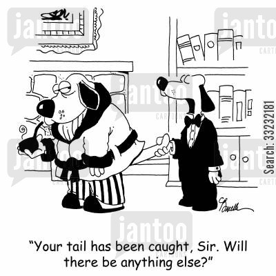 catch your tail cartoon humor: 'Your tail has been caught, Sir. Will there be anything else?'