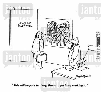 sales representative cartoon humor: 'This will be your territory, Bruno... get busy marking it.'