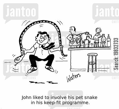 skip cartoon humor: John liked to involve his pet snake in his keep-fit programme.