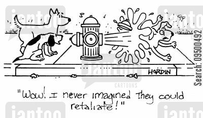 hydrant cartoon humor: 'Wow! I never imagined they could retaliate!'