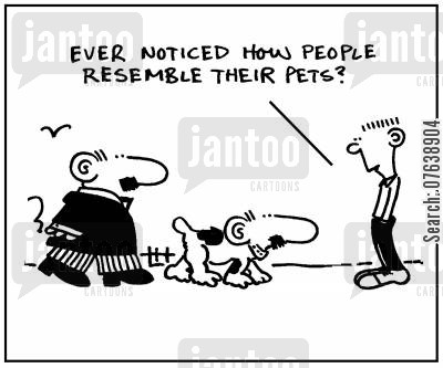 resemblance cartoon humor: 'Ever noticed how people resemble their pets?'