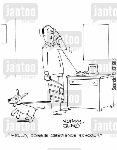 house training cartoon humor: 'Hello, doggie obedience school?'