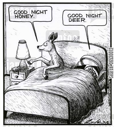 term of affection cartoon humor: 'Good night honey.' 'Good night deer.'