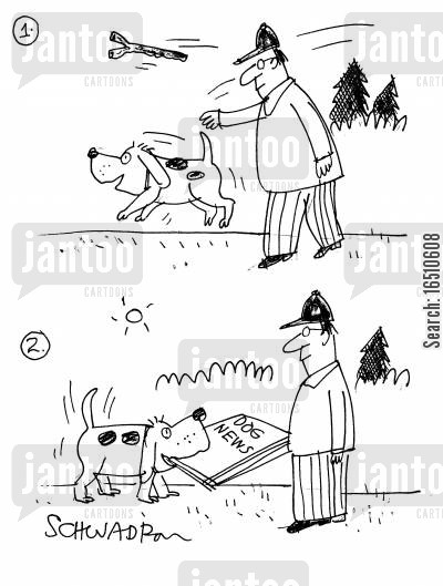dog person cartoon humor: 'Dog News.'