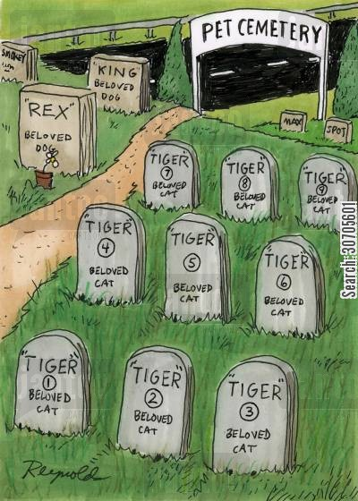 dead pets cartoon humor: Pet Cemetery.