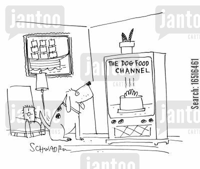 tv network cartoon humor: The dog food channel.