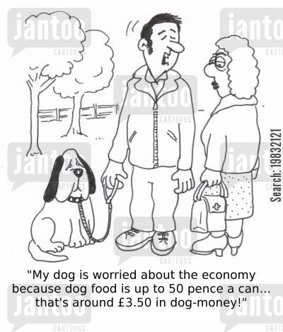 tinned foods cartoon humor: 'My dog is worried about the economy because dog food is up to 50p a can... that's about £3.50 in dog money!'