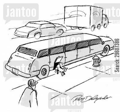 limos cartoon humor: Dog jumping out of limo
