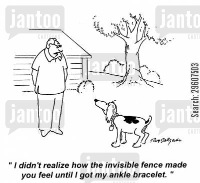 invisible fences cartoon humor: 'I didn't realise how the invisible fence made you feel until I got my ankle bracelet.'