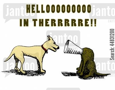 dog collar cartoon humor: Hellooo in there!