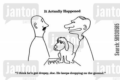 fall over cartoon humor: 'I think he's got dropsy, doc. He keeps dropping on the ground.'