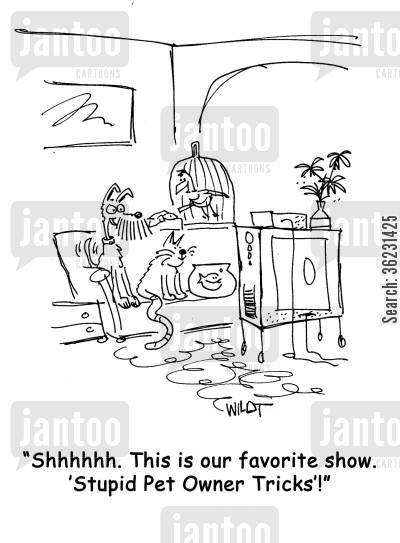 animal programs cartoon humor: 'Shhhhh. This is our favorite show, 'Stupid Pet Owner Tricks'!'