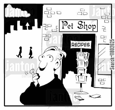 recipe cards cartoon humor: Pet shop with recipes stand outside.