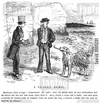sagacious cartoon humor: Man talking about his dog
