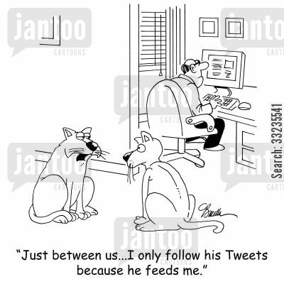 online follower cartoon humor: Just between us...I only follow his tweets because he feeds me.