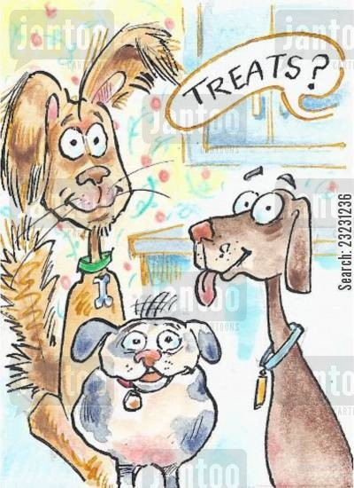 pet health cartoon humor: 'Treats!'