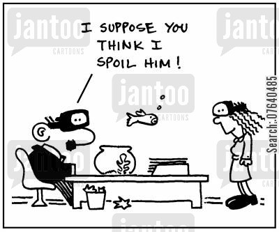 scuba diving cartoon humor: 'I suppose you think I spoil him.'