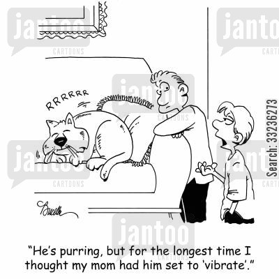 phone setting cartoon humor: 'He's purring, but for the longest time I thought my mom had him set on 'vibrate'.'