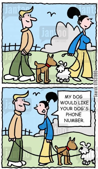 phone numbers cartoon humor: My dog would like your dog's phone number.