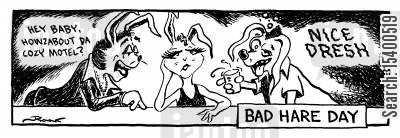 pulling cartoon humor: Bad Hare Day