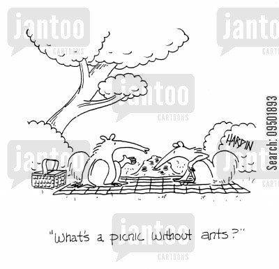 snack foods cartoon humor: 'What's a picnic without ants?'