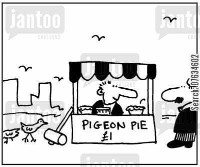 pigeon pies cartoon humor: Pigeon Pie £1.