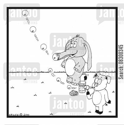 inequality cartoon humor: Elephant and Pig Blowing Bubbles.