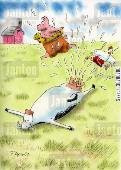 dairy herd cartoon humor: Cow uses udders as a sprinkler.