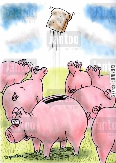 pig farm cartoon humor: Toast Pops Out of Piggy Bank.