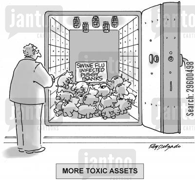 influenza cartoon humor: More Toxic Assets.