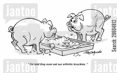 food chain cartoon humor: 'I'm told they even eat our arthritic knuckles.'