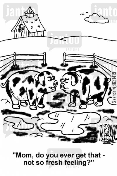 pig farmers cartoon humor: 'Mom, do you ever get that - not so fresh feeling?'