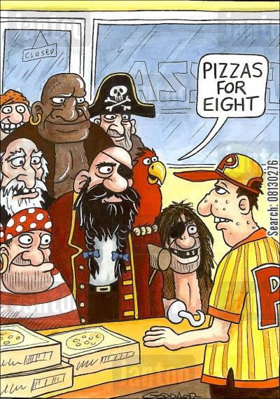 take-away pizza cartoon humor: Parrot says: 'Pizzas for eight'.