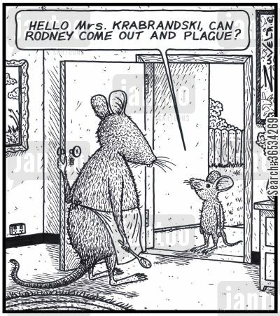 come out and play cartoon humor: Young Rat: 'Hello Mrs.Krabrandski,can Rodney come out and Plague?'