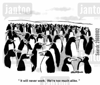 flaw cartoon humor: 'It will never work. We're too much alike.'