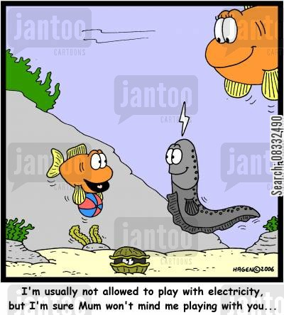 electrics cartoon humor: 'I'm usually not allowed to play with electricity, but I'm sure Mum won't mind me playing with you...'