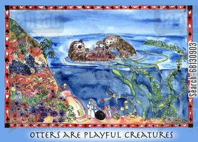 chess players cartoon humor: Otters are Playful Creatures.