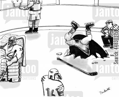 orca cartoon humor: An orca bursts through ice to catch a hockey player.